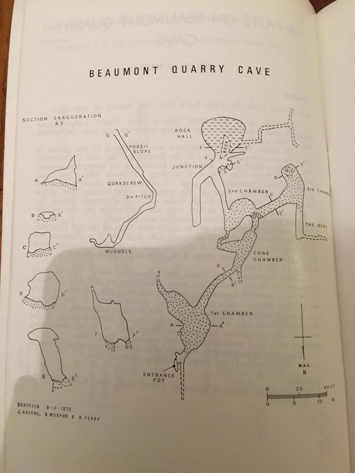 Photo of Brian Murphy's survey of Beaumont Cave